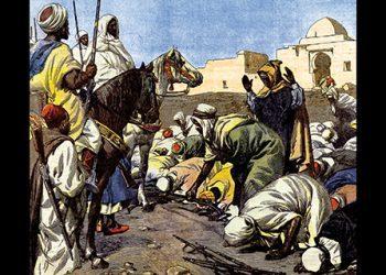 Evenements du Maroc: une tribu rebelle se rend aux reprÈsentants du sultan. Illustration de Beltrame. La Domenica del corriere, 10/02/1907.