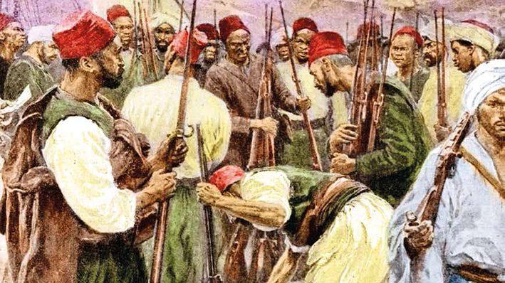 Distribution d'armes ‡ des marocains au dÈbut des ÈvÈnements de Casablanca (Maroc). 1907.     RV-376504
