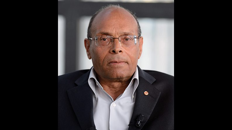 """Tunisian president Moncef Marzouki delivers a speech on April 12, 2013 at the Institut du Monde Arabe (Arabic world institute) in Paris, during the presentation of his book """"The invention of a Democracy"""".    AFP PHOTO ERIC FEFERBERG / AFP PHOTO / ERIC FEFERBERG"""